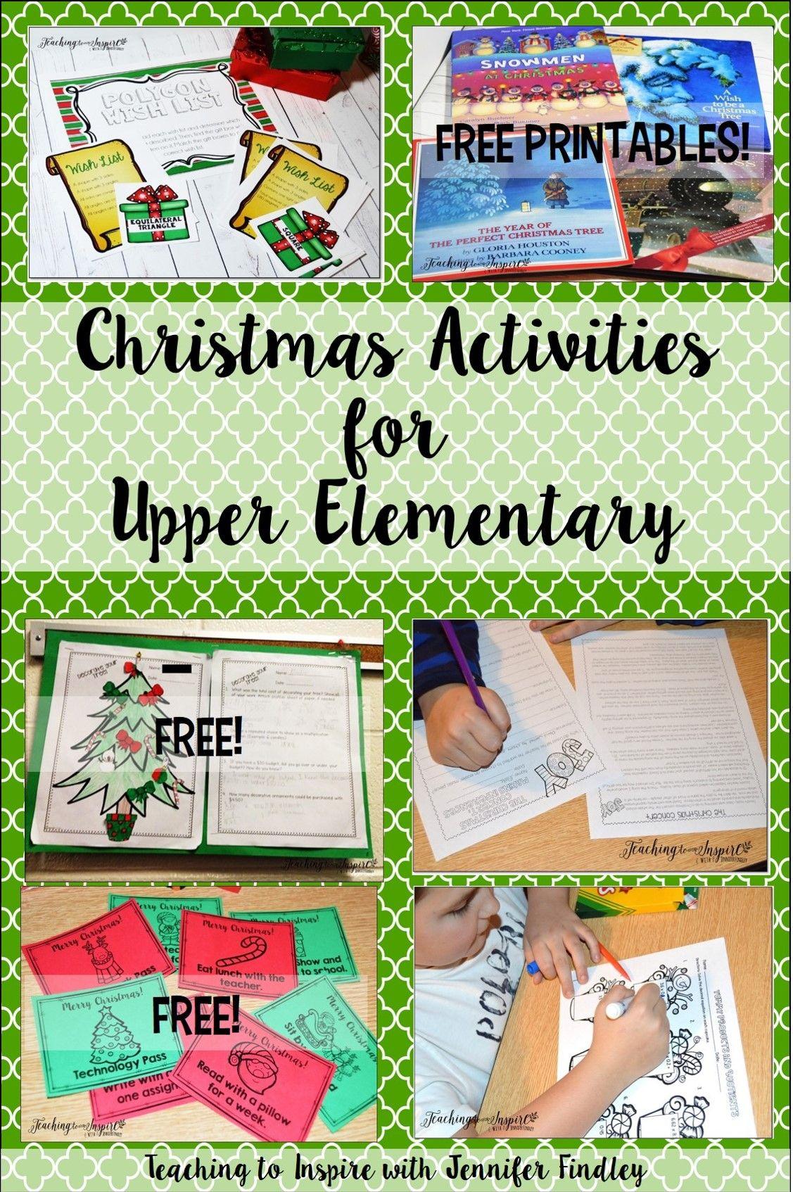 Classroom Activities Elementary ~ Christmas activities for upper elementary