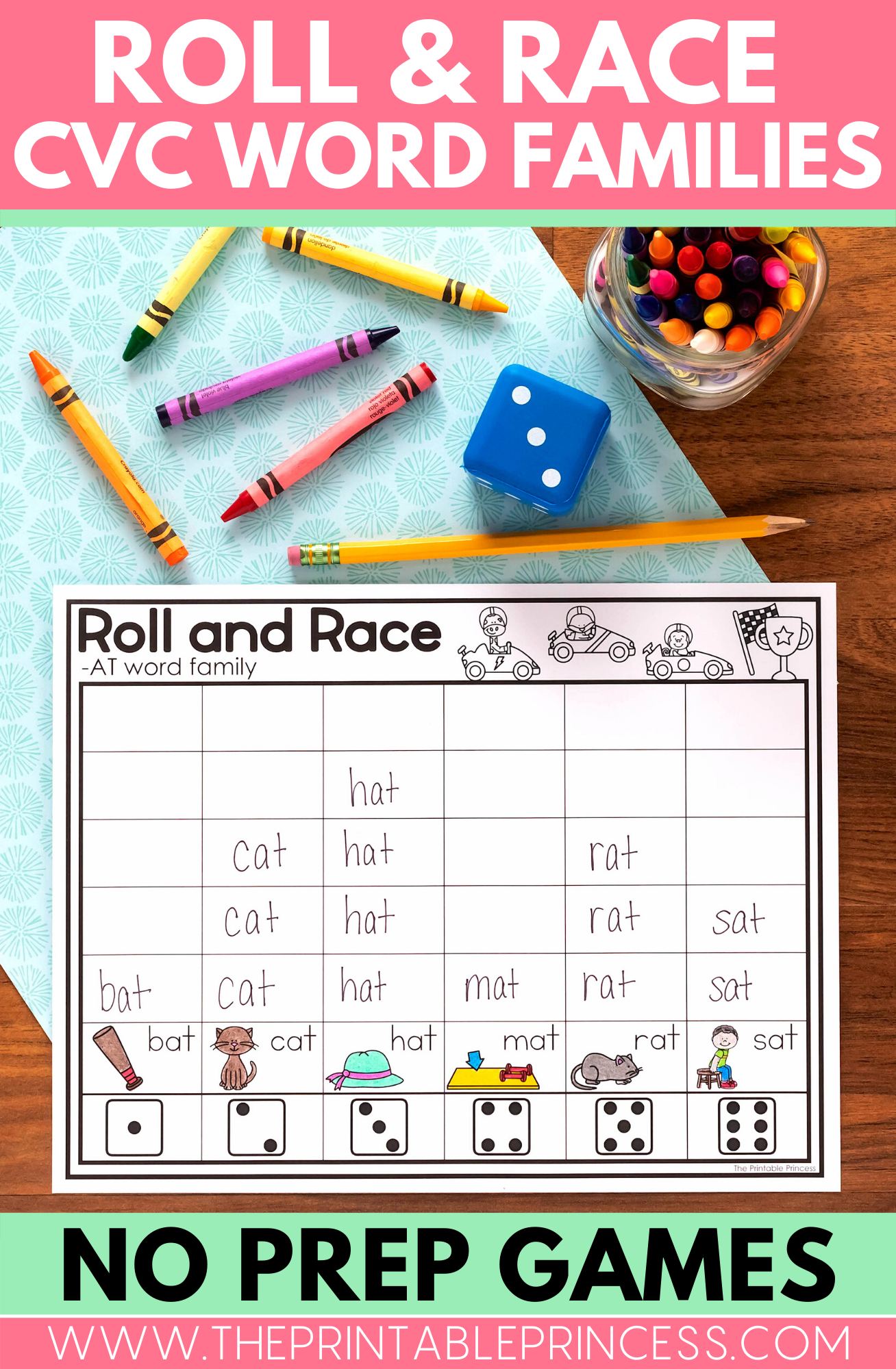 Roll And Race Cvc Word Families Game In