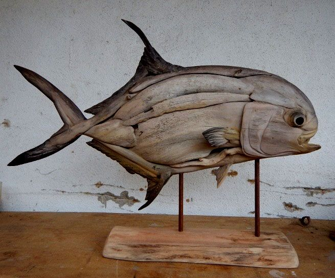 Driftwood permit sculpture by tony and shaun fredriksson