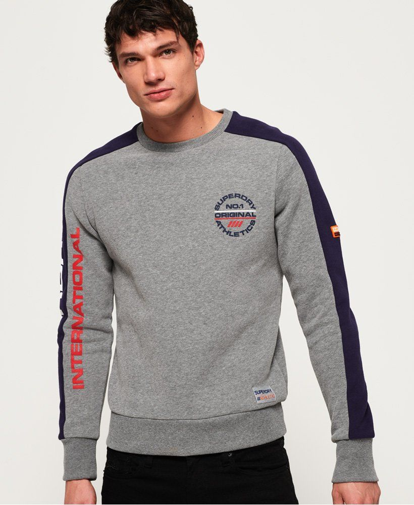 06959eb028356 Superdry Trophy Tri Colour Sweatshirt Superdry Mens