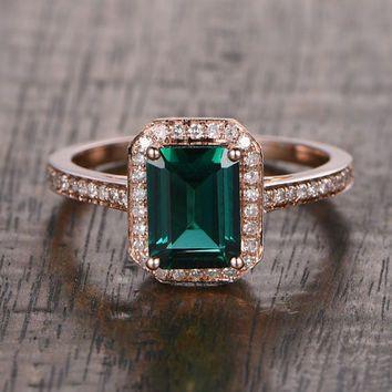 6x8mm Lab Emerald Engagement ring Rose gold Diamond wedding band