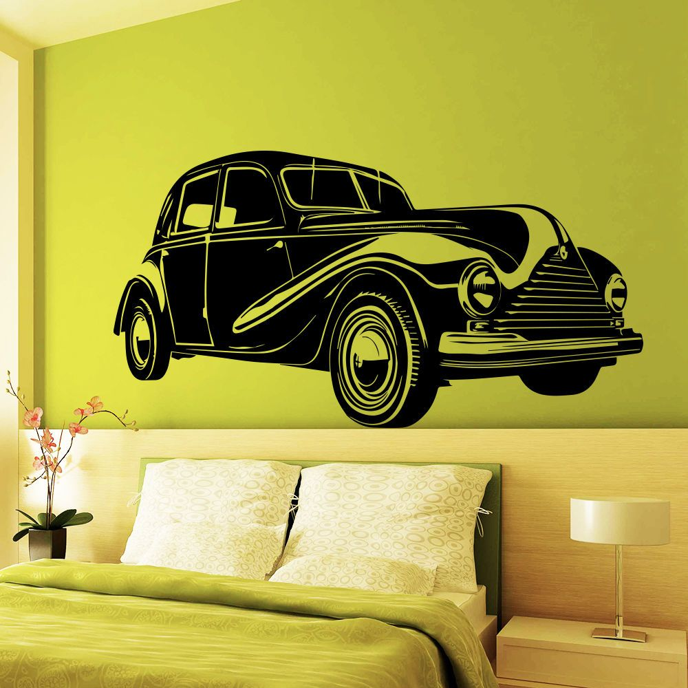 Wall Decals Retro Old Car Auto Vintage Living Room Bedroom Vinyl ...