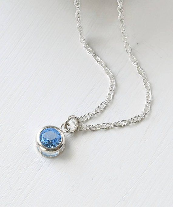 f83918dd1abb0 March Birthstone Necklace / Simulated Aquamarine Necklace Sterling ...