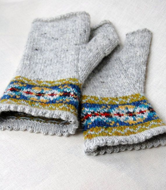 Knitting Pattern Fair Isle Fingerless Gloves PDF Instant Download ...