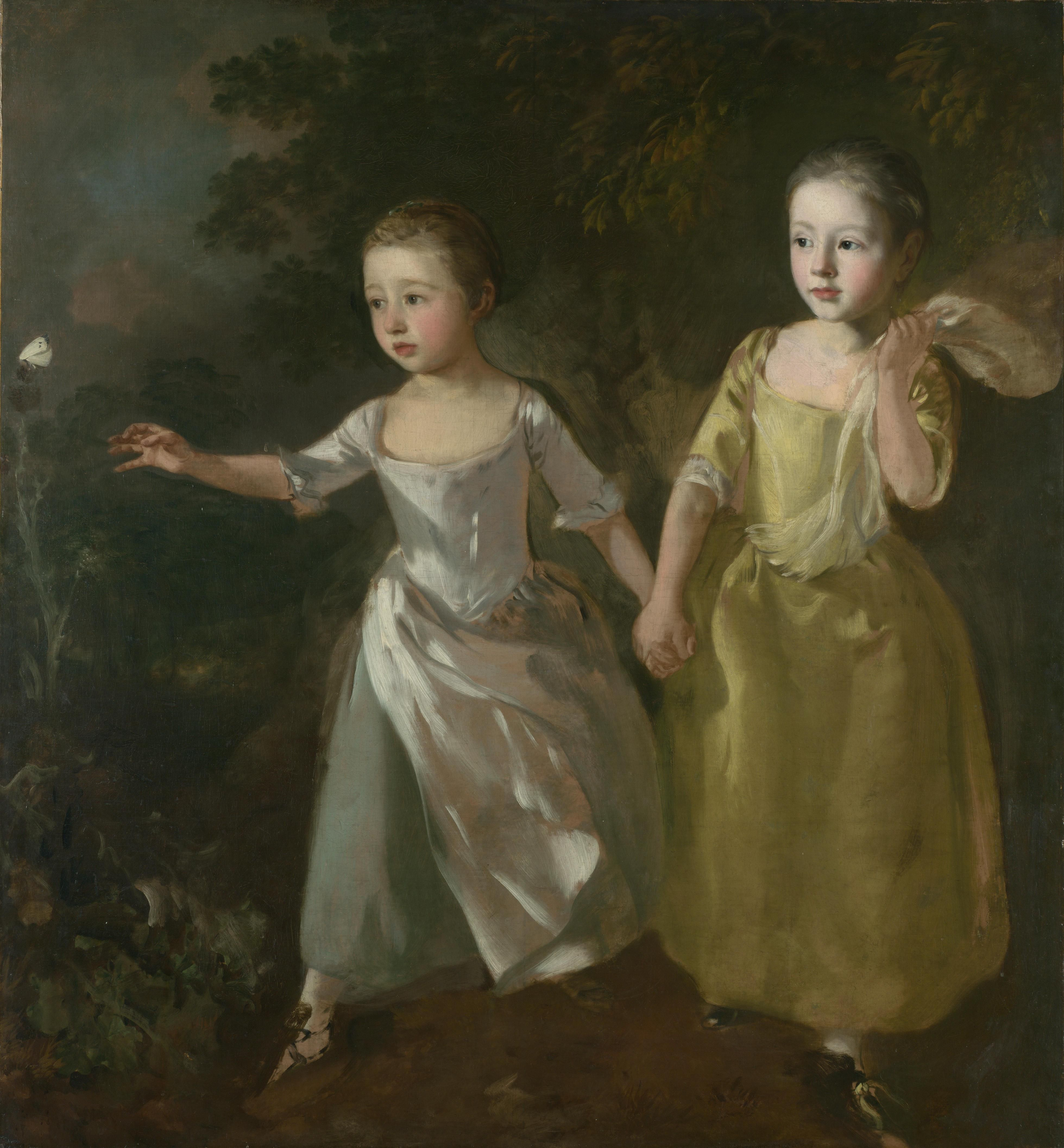 GAINSBOROUGH, Las hijas del pintor persiguiendo una mariposa, 1756, National Gallery