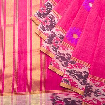 Linen - Lily Saris - Lotus Pink Venkatagiri weave w Indonesian ikat border - lotus pink blouse.