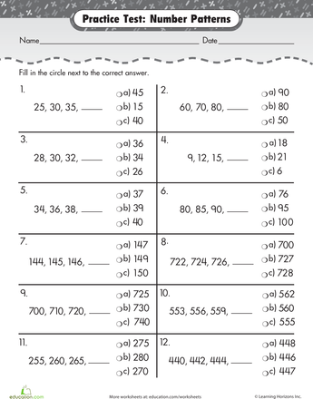 Practice Test Number Patterns Number Patterns Worksheets And Number