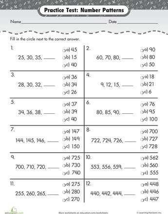 practice test number patterns number patterns worksheets and math. Black Bedroom Furniture Sets. Home Design Ideas