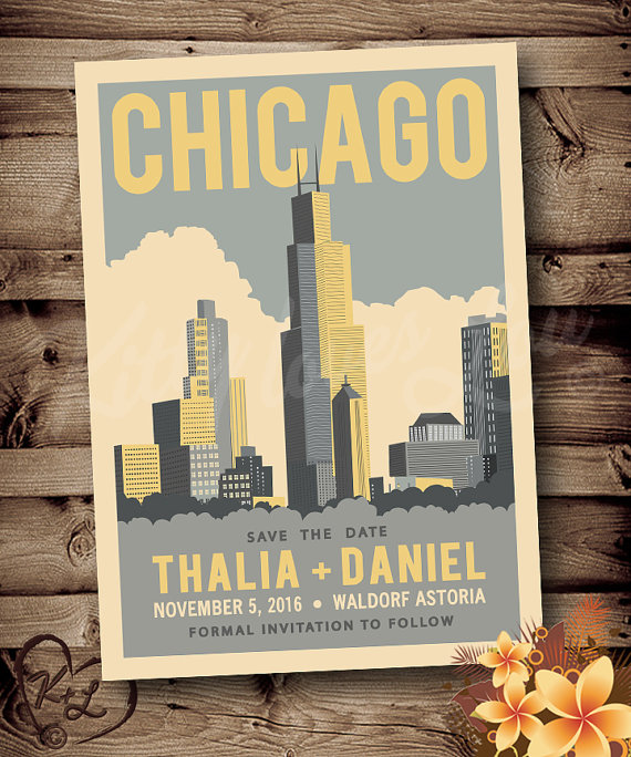 printable save the date chicago wedding announcement digital pdf