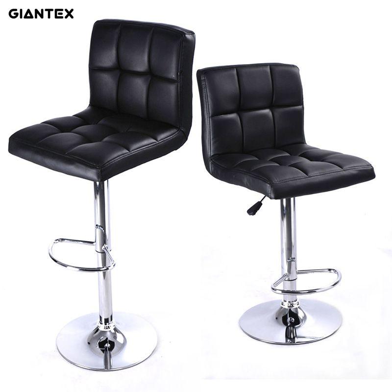 GIANTEX 2pcs PU Leather Modern Adjustable Bar Stool Swivel