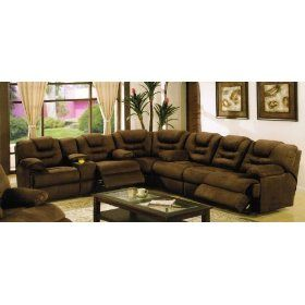 Sectional Recliner Sofa With Cup Holders In Chocolate Microfiber 1775 56