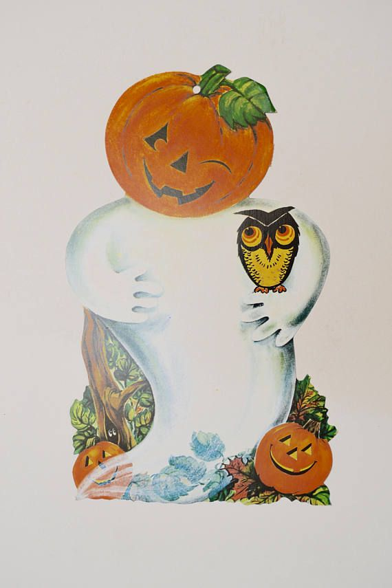 Vintage Halloween Decoration Pumpkin Ghost Owl Cardboard Cut