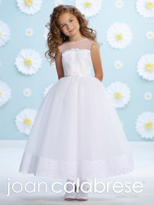 5412be969324 Joan Calabrese for Mon Cheri - 116361 - Sleeveless satin, tulle and lace  tea-length A-line dress with illusion jewel neckline, satin bodice accented  with ...
