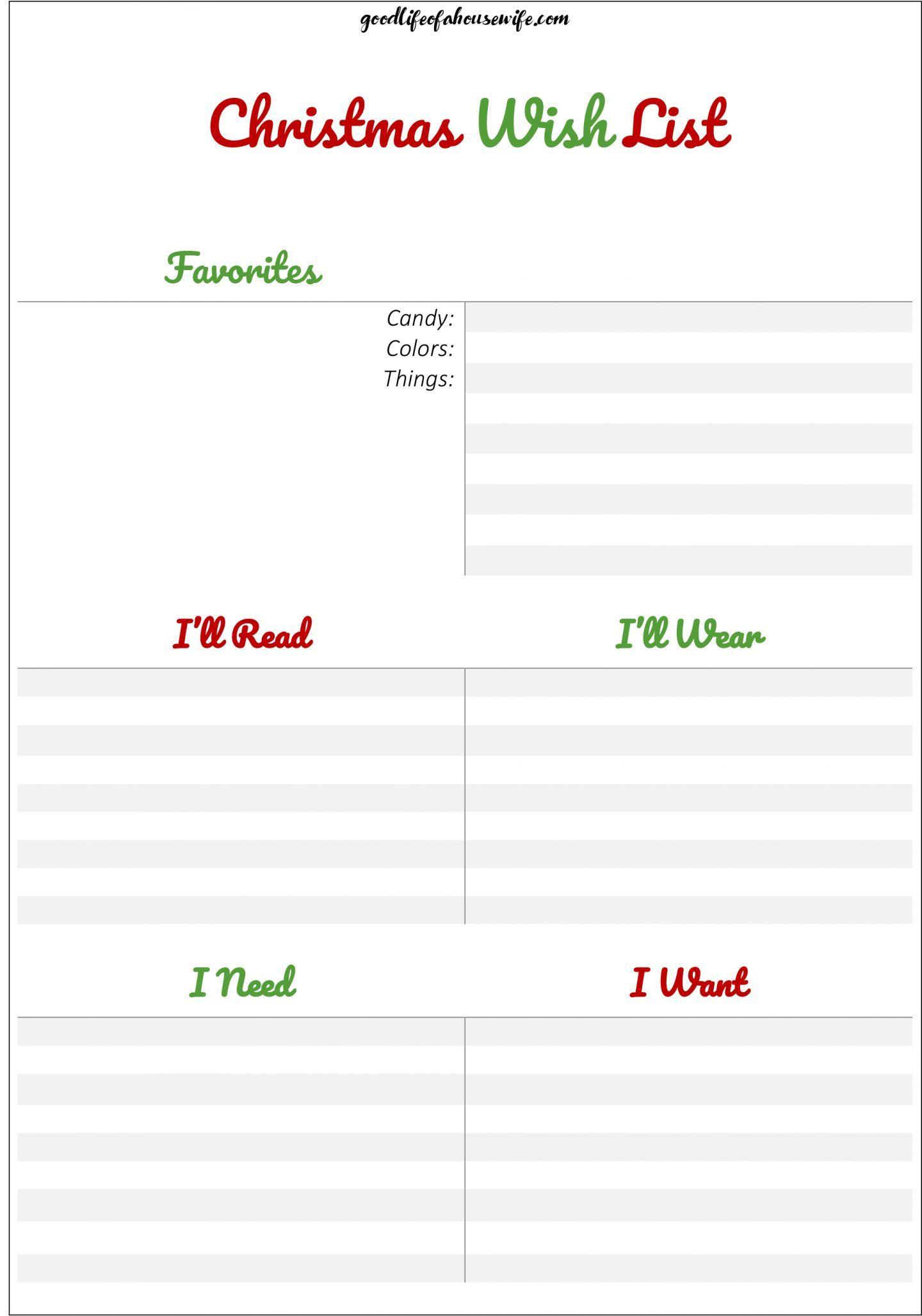 Christmas Wish List With Free Printable For Kids Pdf