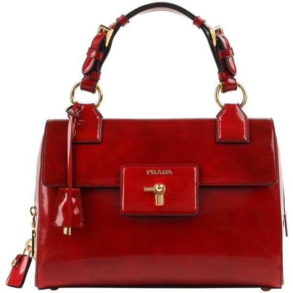 2f29a8f755a3 ... coupon preowned prada a w 2012 scarlet red spazzolato leather turn lock  1894 liked on polyvore featuring