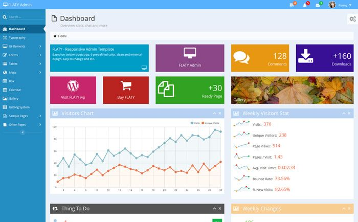 FLATY - Premium Responsive Admin Template UX - Dashboard Design - excel dashboard template