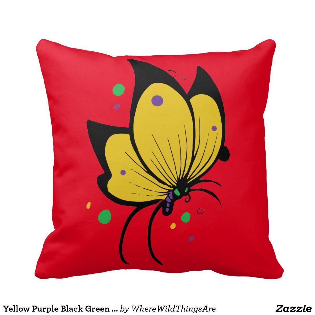 Yellow purple black green butterfly throw pillows motherus day