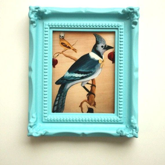 Mini Framed Blue Cardinal