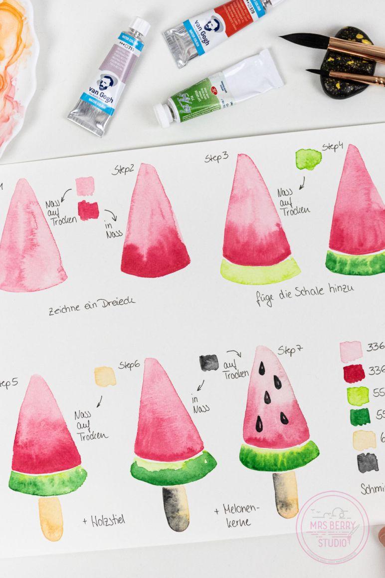 Watercolor Tutorial: Melone am Stiel | MrsBerry.de