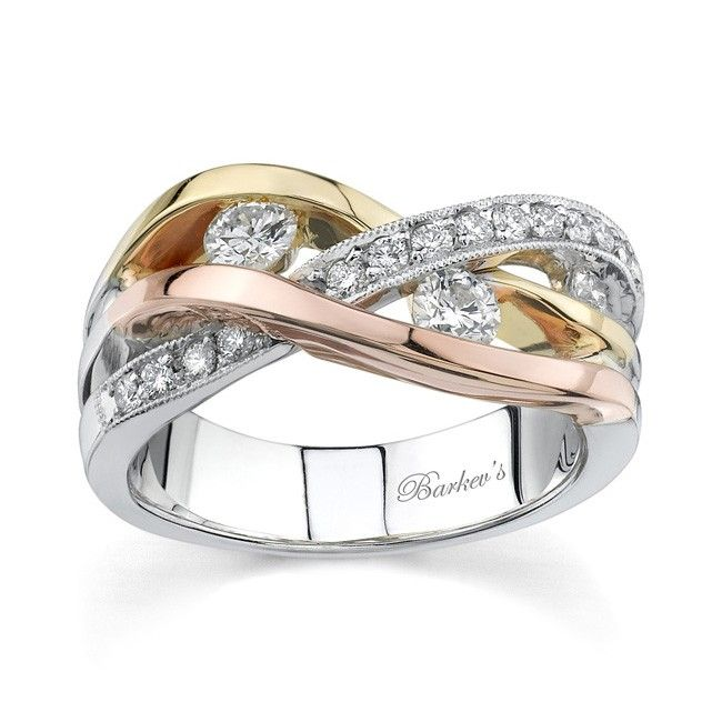 Unique Modern Styling Gives This Tri Color Gold Diamond Wedding Band Its Pizzazz The White Shank Sports Accents Bands Of Yellow And Rose