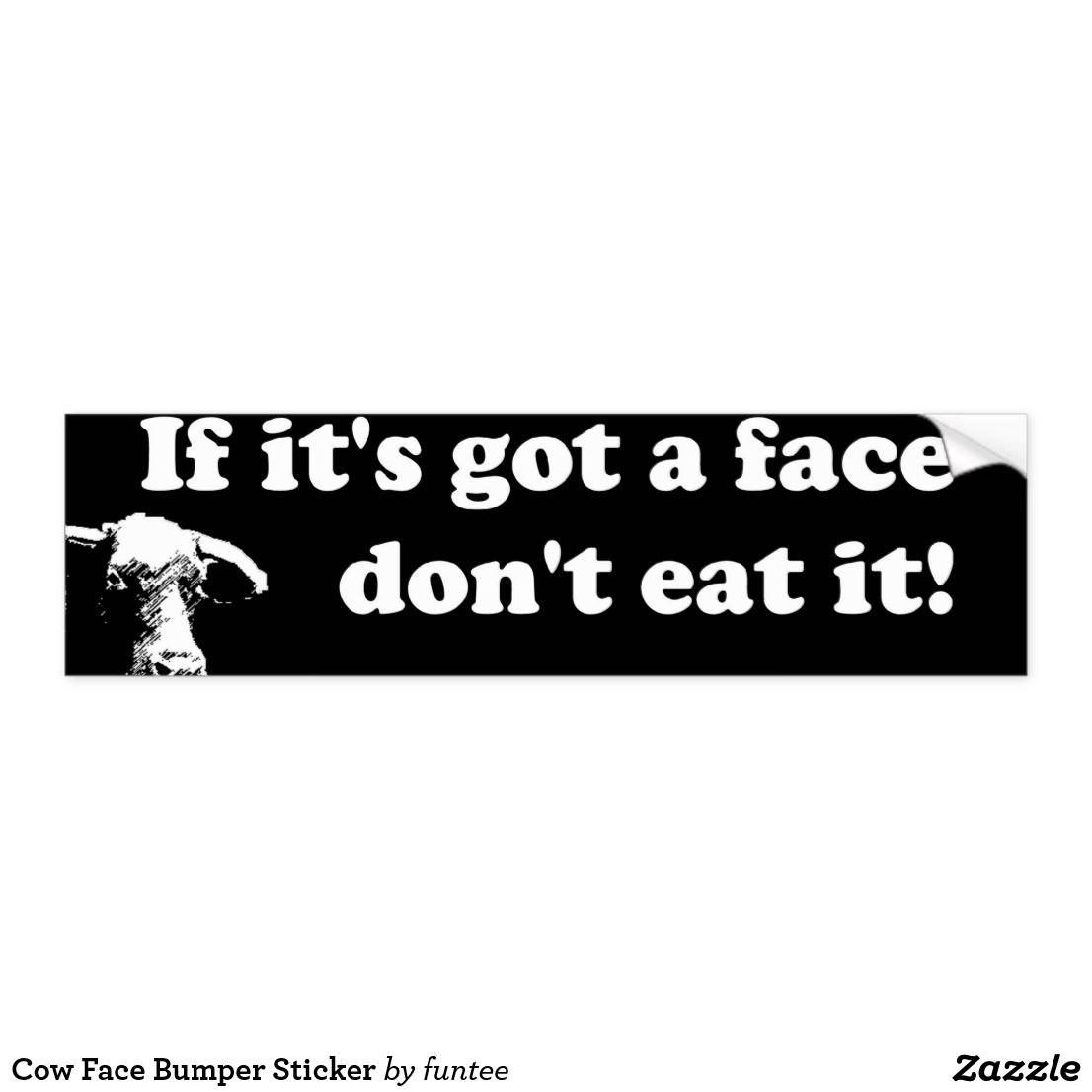 Cow Face Bumper Sticker