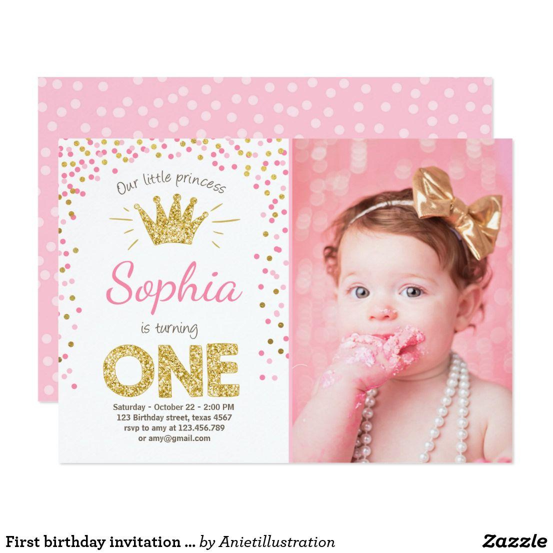 First birthday invitation princess gold pink princess theme and first birthday invitation princess gold pink filmwisefo