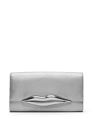 DVF | The iconic Carolina Lips Clutch shines in metallic canvas.