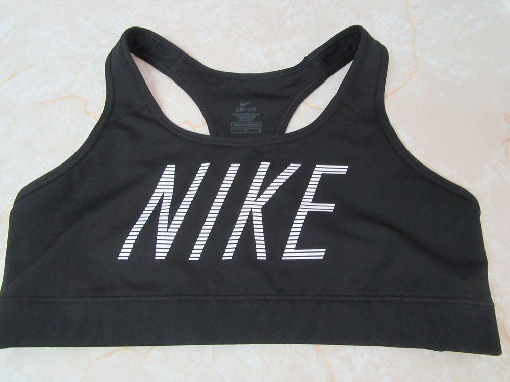 Nike Dri Fit Women's Sports Bra Black w/ White Logo Sz L
