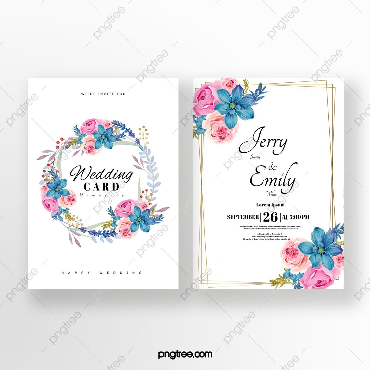 Exquisite Flower Double Sided Wedding Invitation In 2021 Wedding Invitations Typography Wedding Invitations Wedding Invitation Templates