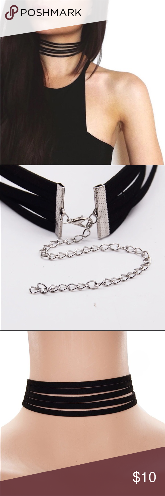 Black faux leather choker Cute choker adjustable clasp vegan leather. Brand new. I have two sizes. Thicker one and thinner one. Let me know which you'd like. Jewelry Necklaces