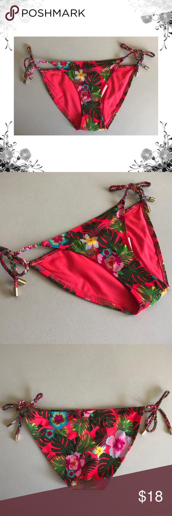 31dc6263262d6 TopShop  Floral Print Braided Bikini Bottoms NWT