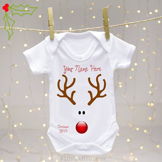 Personalised Name My 1st First Christmas 2019 Embroidered Baby Vest Cute Gift