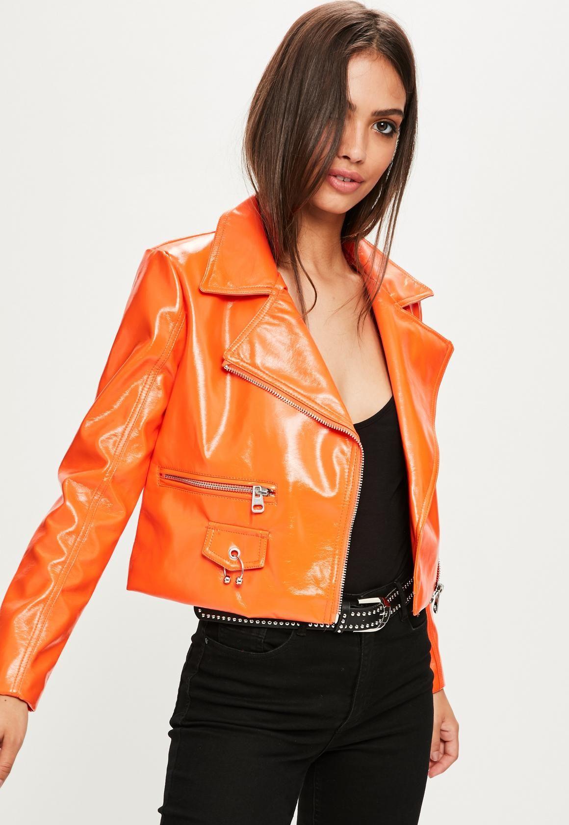 dcc8cbae866db Missguided - Orange Vinyl Biker Jacket
