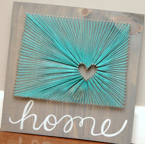 Show your State and City Pride with this Personalized State String Art, The heart shows the city in which you live or love or anything that is personal to you!! This measures roughly 11x 11, painted or stained and strung with nail and thread to create this one of a kind art piece. Great #stringart