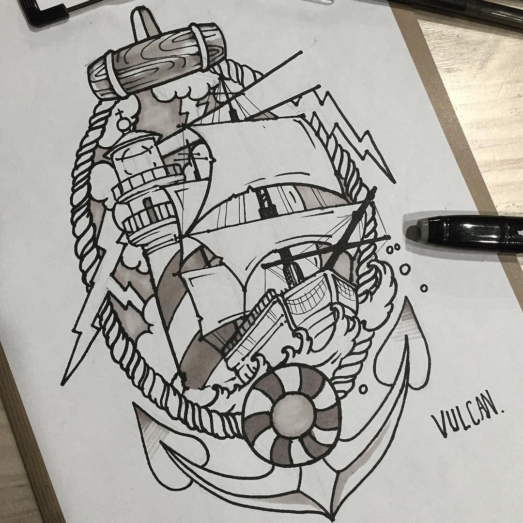 Sailboat & lighthouse  . . 우르르쾅쾅 #tattoo #tattooart #tattooing  #design #drawing  #sailboat #lighthouse  #타투 #타투도안 #올드스쿨 #범선 #등대 #폭풍 #전주 #전주타투 #객사 #신시가지 by vulcan_tattooer