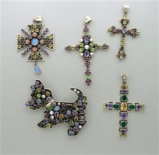 Lot of 5 Sterling Silver Multi Colored Semiprecious Gemstones Pendants Pin