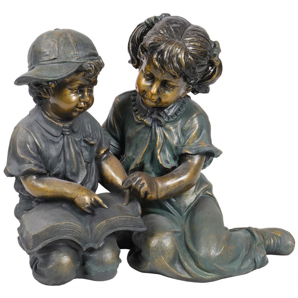 Alpine Corporation Girl And Boy Reading Statue Set Includes 2