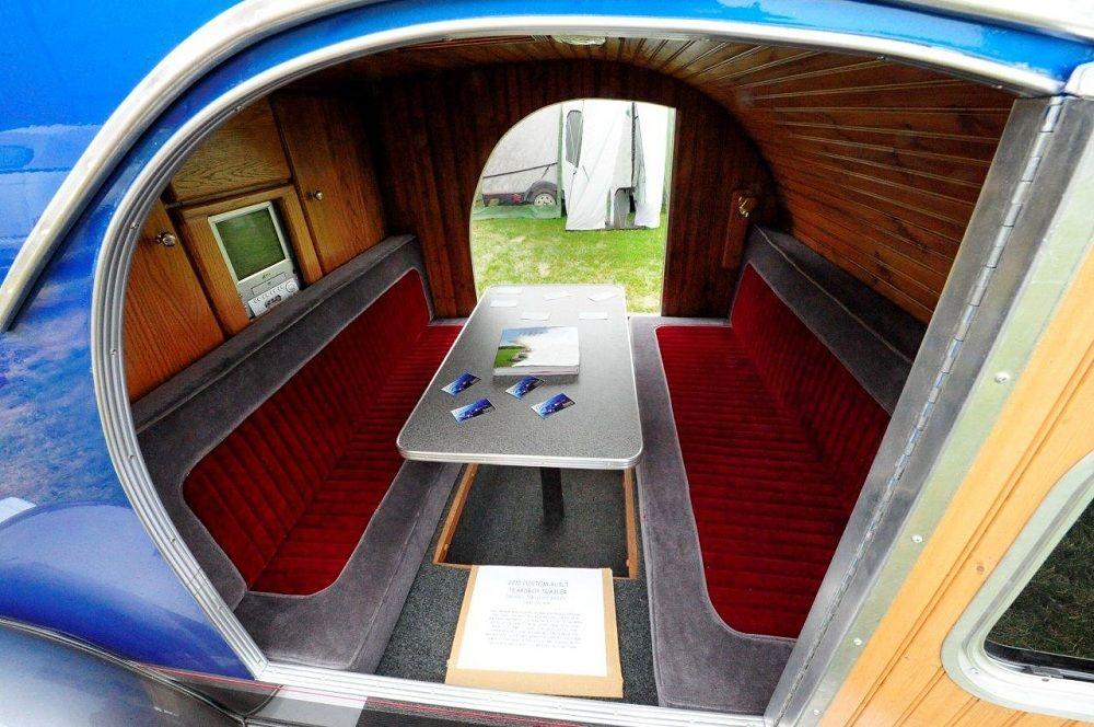 Blue inside table benches2 teardrop trailer teardrop