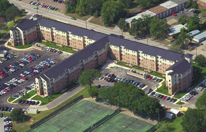 A birds eye view of the raven village student housing for University of houston student housing