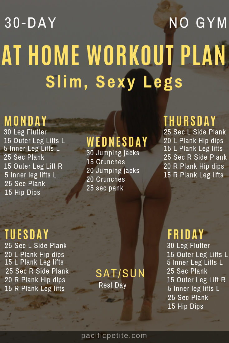 At home slim legs workout plan for long, toned slim legs for women fast. No gym, no equipment. #workoutplan