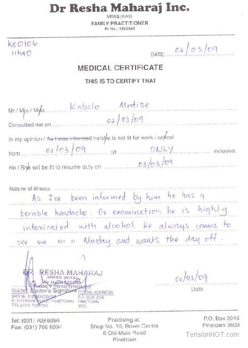Fake Doctors Note Template Free Doctor Excuse Pdf Sick | doc