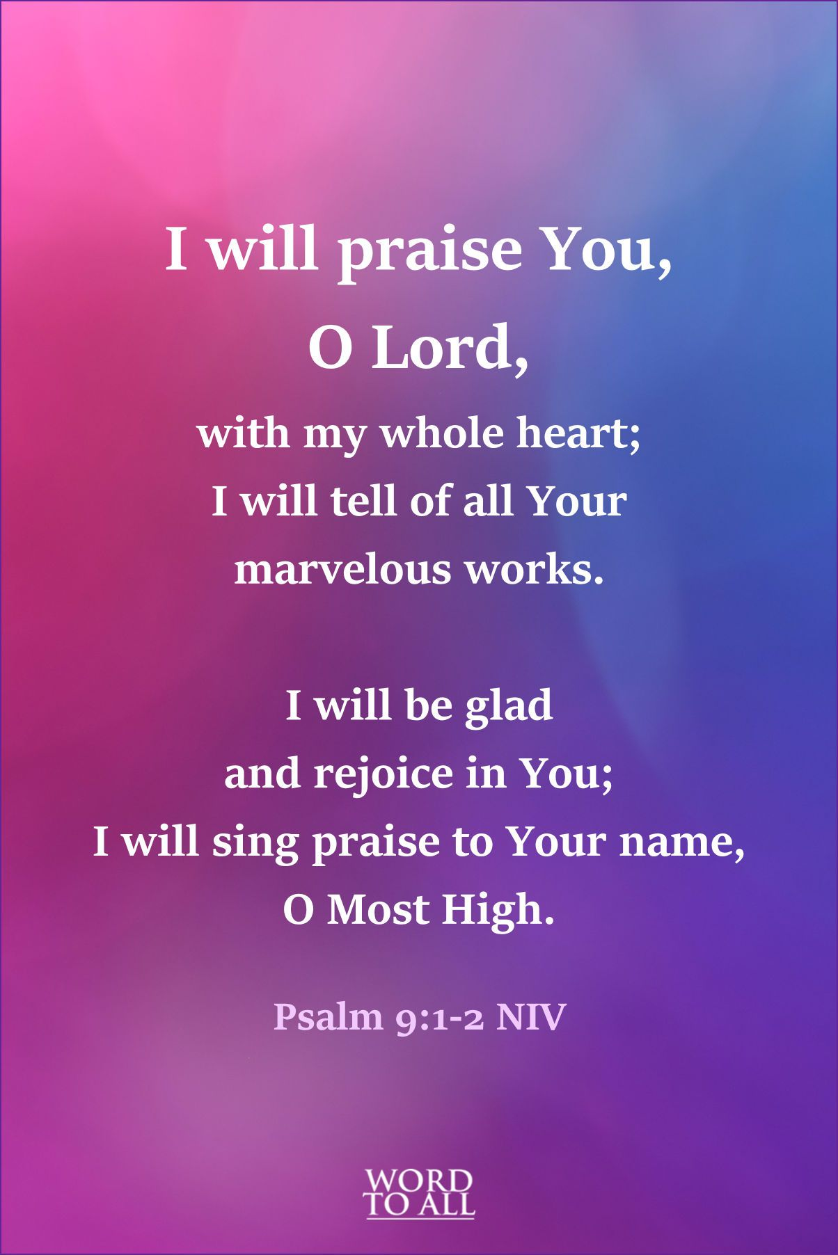 I Will Give Thanks To You Lord With All My Heart I Will Tell Of