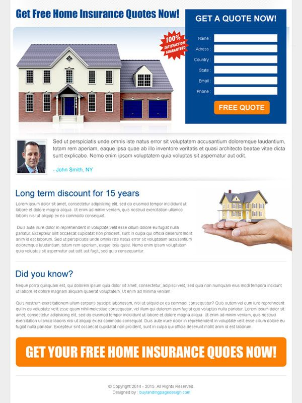 Homeowners Insurance Quote Home Insurance Quote Lead Capture Landing Page Design Template  Buy .