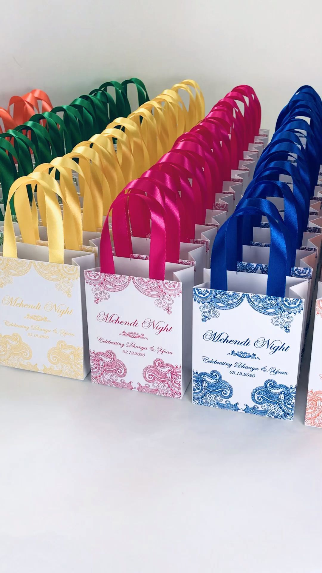 25 Mehendi Night Gift Bags With Satin Ribbon Your Names Etsy Elegant Personalized Indi In 2020 Indian Wedding Favors Edible Wedding Favors Wedding Favor Gift Bags