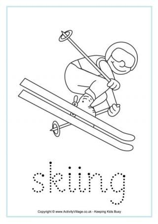 winter olympics coloring worksheets with tracing handwriting practice skiing winter. Black Bedroom Furniture Sets. Home Design Ideas
