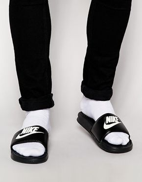 Men/'s Nike Benassi JDI Slide Sport Sandal Black//White 343880 090