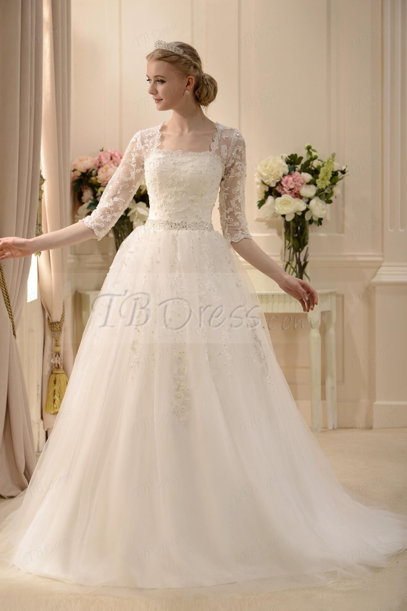 http://www.tbdress.com/product/Elaborate-A-Line-Square-3-4-Length-Sleeves-Floor-Length-Court-Beaded-Wedding-Dress-10566333.html