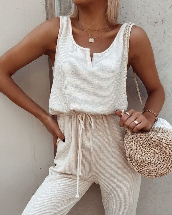 Solid Round Neck Drawstring Sleeveless Jumpsuit