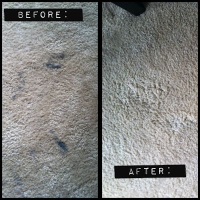 Blue Dawn dish soap + hydrogen peroxide are all it takes to get rid of even the toughest carpet stains (that black stuff on the left photo is Paint This is awesome!