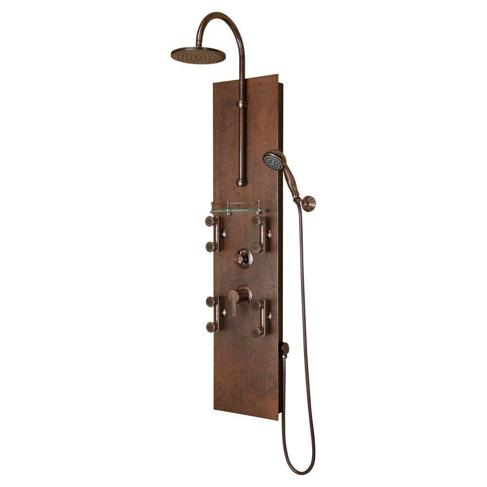 Pulse Showerspas Mojave 8 Jet Shower System In Oil Rubbed Bronze 1016 The Home Depot In 2021 Shower Systems Shower Panels Oil Rubbed Bronze Fixtures